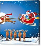 Reindeer Santa Sleigh Christmas Stunt Show Acrylic Print by Frank Ramspott