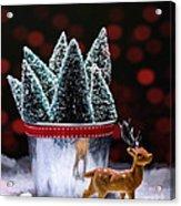 Reindeer With Christmas Trees Acrylic Print