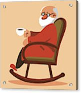 Relaxed Old Man Sitting In Rocking Chair And Drinking Tea Metal
