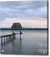 Relaxing On The Pier  Lake Peten Itza Guatemala Acrylic Print