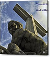 Religious Sculpture And Words Acrylic Print