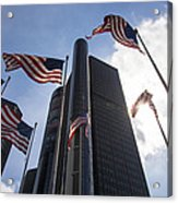 American Flags And Renaissance Center Acrylic Print