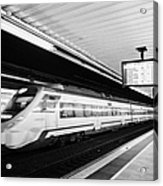 renfe civia train speeding through passeig de gracia underground main line train station Barcelona C Acrylic Print