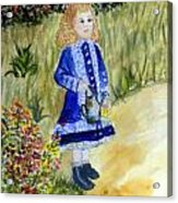 Renoir Girl With Watering Can In Watercolor Acrylic Print