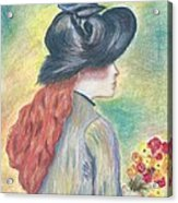 Renoirs' Painting Of Girl Holding A Bouquet In Pastels Acrylic Print