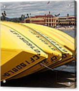 Rental Boats On The Municipal Wharf At Santa Cruz Beach Boardwalk California 5d23795 Acrylic Print by Wingsdomain Art and Photography
