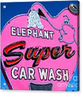 Elephant Super Car Wash Sign Seattle Washington Acrylic Print