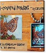 Resin Pendant With Butterfly And Sky Acrylic Print