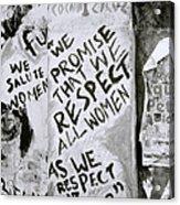 Respect Women Graffiti Acrylic Print