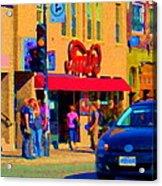 Restaurant Amir Internet Cafe Fast Food Plateau Montreal City Street Scene Art Carole Spandau  Acrylic Print