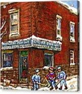 Restaurant Epicerie Jean Guy Pointe St. Charles Montreal Art Verdun Winter Scenes Hockey Paintings   Acrylic Print