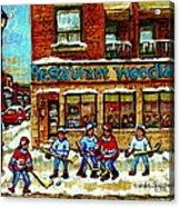 Restaurant Woodland Pizza Rue Wellington Verdun Original Hockey Art Montreal Paintings Commissions   Acrylic Print