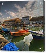 resting boats at the Jaffa port Acrylic Print