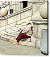 Resting On The Steps Of City Hall Acrylic Print
