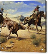 Restraint 2 Cowboys Roping A Steer Acrylic Print