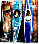 retired Kayaks Acrylic Print by Rebecca Adams