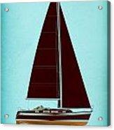 Retro Blue Sailing Acrylic Print