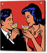 Retro Couple Drinking Champagne Acrylic Print
