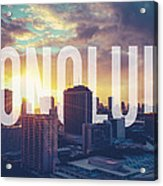 Retro Filtered Honolulu With Text Acrylic Print