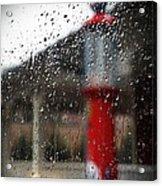 Retro Gas Pump On A Rainy Day Acrylic Print