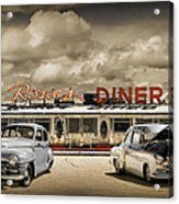 Retro Photo Of Historic Rosie's Diner With Vintage Automobiles Acrylic Print