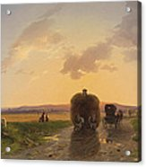 Return From The Field In The Evening Glow Acrylic Print