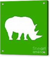 Rhino In Green And White Acrylic Print