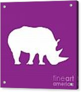Rhino In Purple And White Acrylic Print
