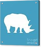 Rhino In White And Turquoise Blue Acrylic Print