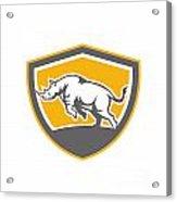 Rhinoceros Charging Side Shield Retro Acrylic Print by Aloysius Patrimonio
