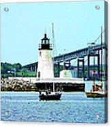 Rhode Island - Lighthouse Bridge And Boats Newport Ri Acrylic Print