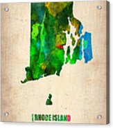 Rhode Island Watercolor Map Acrylic Print by Naxart Studio