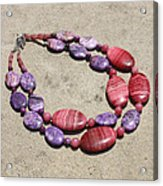 Rhodonite And Crazy Lace Agate Double Strand Chunky Necklace 3636 Acrylic Print