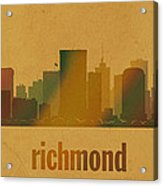 Richmond Virginia City Skyline Watercolor On Parchment Acrylic Print