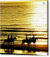 Rider Silhouettes Against The Sea Acrylic Print