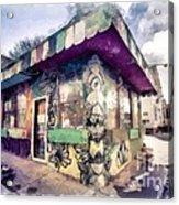 Riding High Skateboard Shop Watercolor Acrylic Print