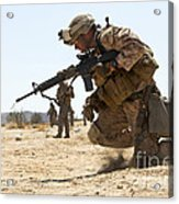 Rifleman Kneels To The Ground While Acrylic Print