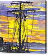 Rigging In The Sunset Acrylic Print