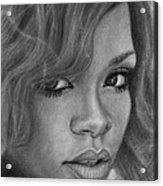 Rihanna Pencil Drawing Acrylic Print