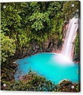 Rio Celeste Waterfall Acrylic Print by Andres Leon
