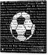 Rio De Janeiro In Words Black Soccer Acrylic Print