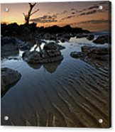 Ripples In The Sand Acrylic Print by Mark Leader