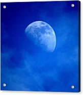 Rising Moon Through Evening Clouds Acrylic Print