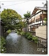 River And Houses In Kyoto Japan Acrylic Print