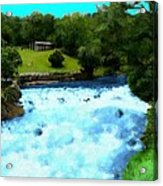 River And Waterfall In France Acrylic Print