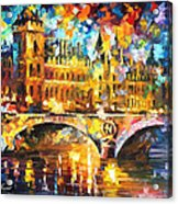 River City - Palette Knife Oil Painting On Canvas By Leonid Afremov Acrylic Print