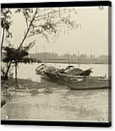 River Fishing Boats In Hoi An Acrylic Print