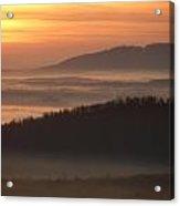 River Fog Sunrise Acrylic Print