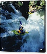 River Kayaking Over Waterfall, Crested Acrylic Print