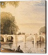River Scene With Bridge Of Six Arches Acrylic Print by Robert Hindmarsh Grundy